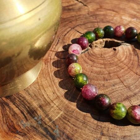 Bracelet mala tibétain en perles d'onyx multicolores - Bracelets malas tibétains