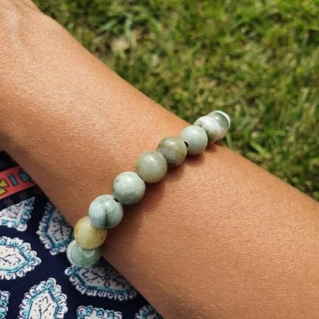 Bracelet mala tibétain en pierre de jade de Birmanie - Bracelets malas tibétains