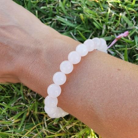Bracelet mala tibétain en perles de quartz rose - Bracelets malas tibétains