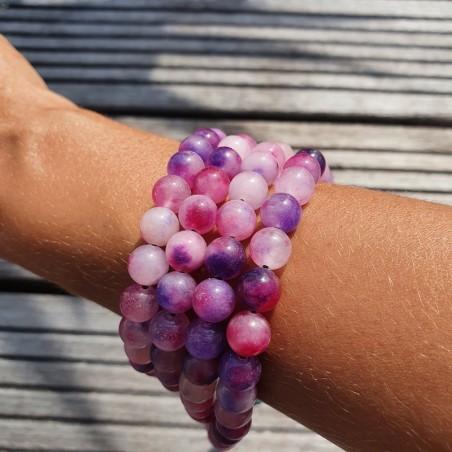 Collier mala tibétain en perles d'onyx rose - Colliers malas tibétains