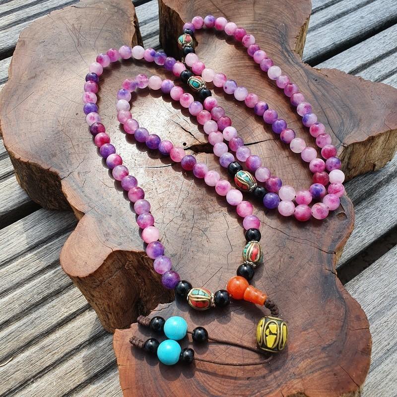 Collier mala tibétain en perles d'onyx rose