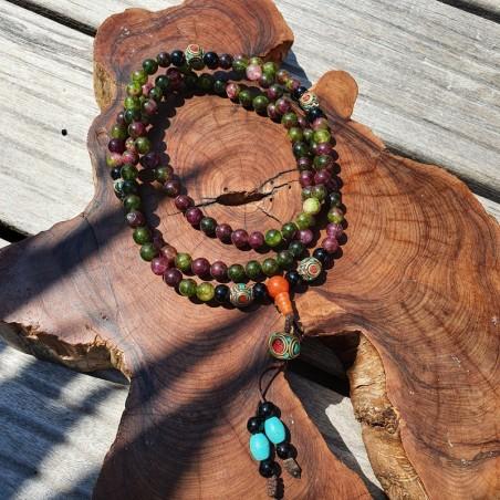 Collier mala tibétain en perles d'onyx multicolores - Colliers malas tibétains
