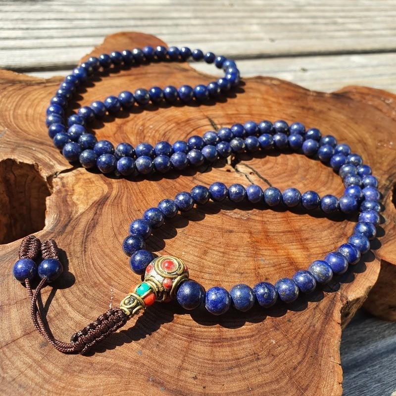 Collier mala tibétain en pierre lapis lazuli