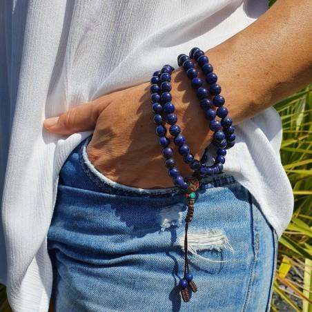 Collier mala tibétain en pierre lapis lazuli - Colliers malas tibétains