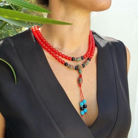 Collier mala tibétain en perles de cornaline rouge - Colliers malas tibétains