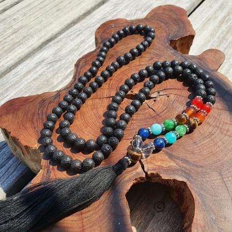 Collier 7 chakras et pierre de lave - Colliers malas tibétains