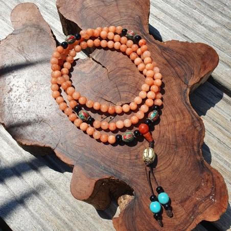 Collier mala tibétain en perles d'onyx orange - Colliers malas tibétains