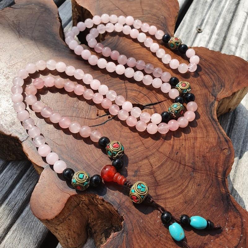 Collier mala tibétain en pierre quartz rose