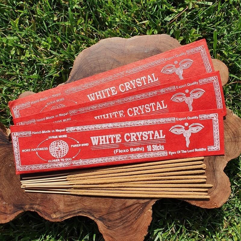 White crystal - Encens népalais en bâtonnets roulés à la main