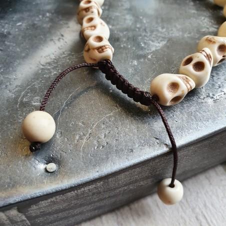 Bracelet de perles en os sculpté en forme de tête de mort - Bracelets malas tibétains