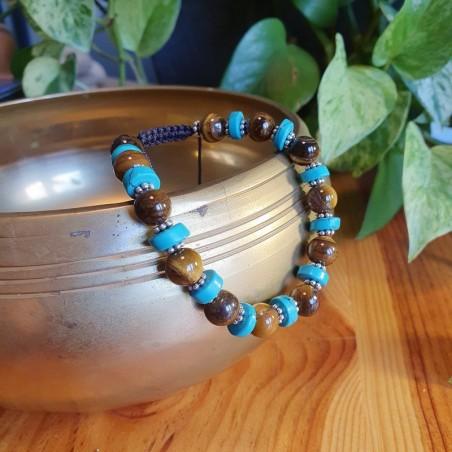 Bracelet en perles oeil de tigre et pierres turquoises - Bracelets malas tibétains