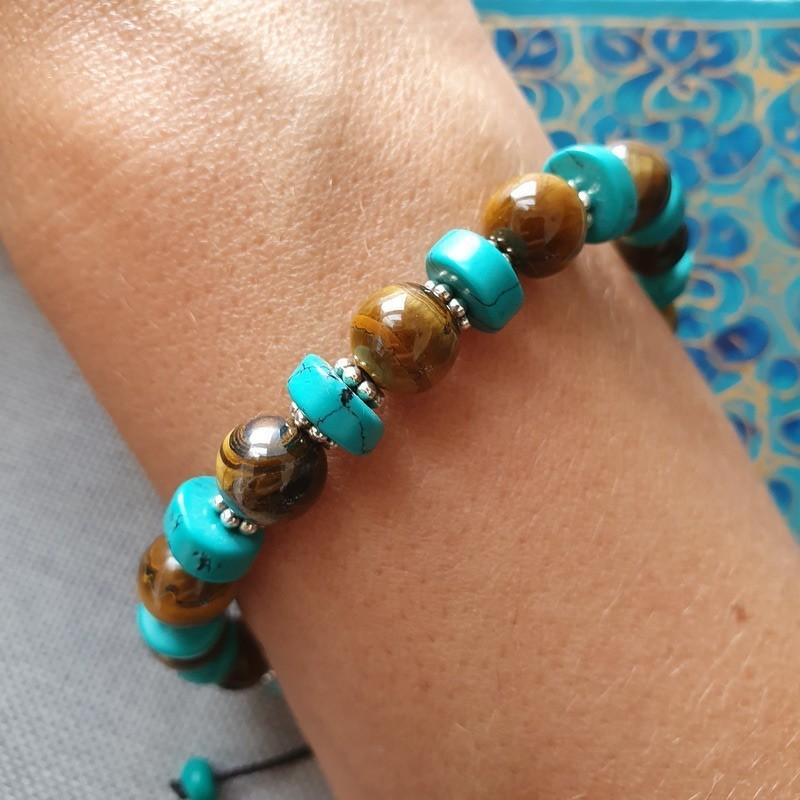 Bracelet en perles oeil de tigre et pierres turquoises