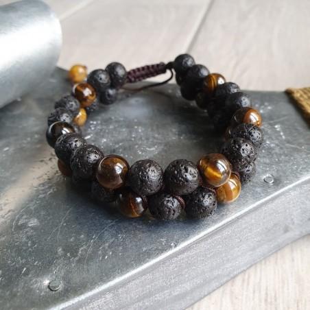 bracelet shamballa en pierre de lave et oeil de tigre - Bracelets malas tibétains