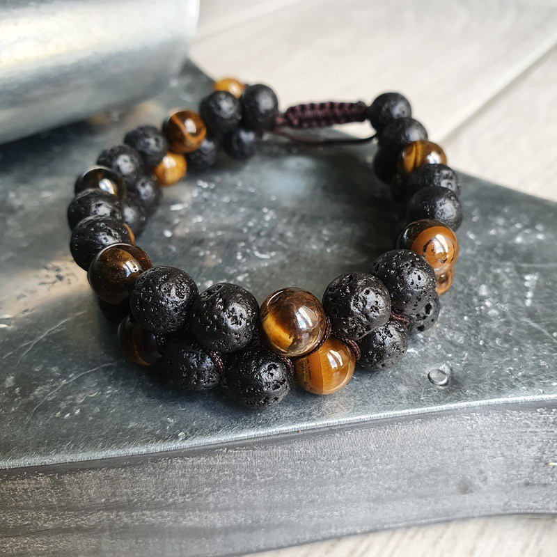 bracelet shamballa en pierre de lave et oeil de tigre