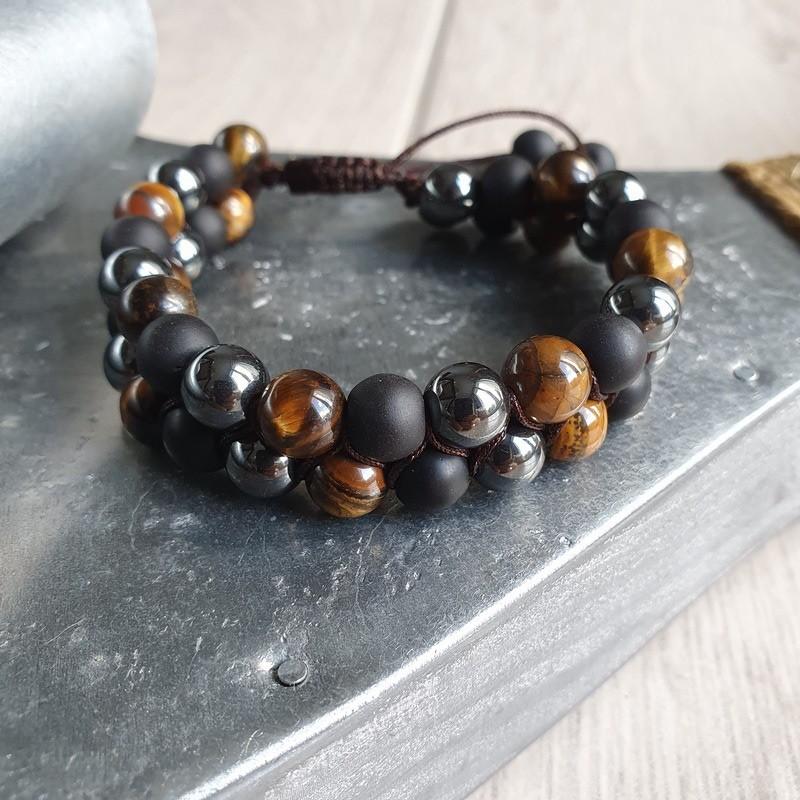 Bracelet shamballa en pierre oeil de tigre, hématite et shaligram