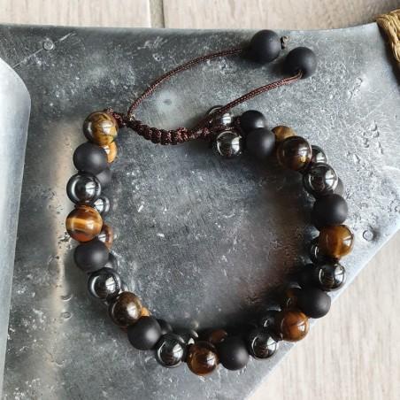 Bracelet shamballa en pierre oeil de tigre, hématite et shaligram - Bracelets malas tibétains