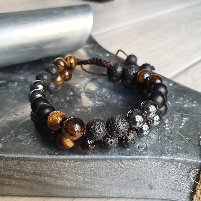 Bracelet shamballa en pierre de lave, oeil de tigre, hématite et shaligram