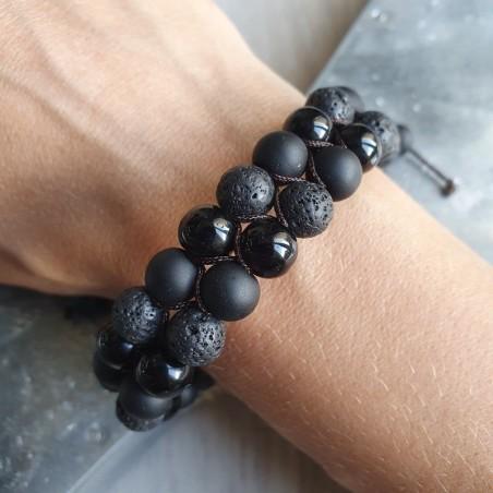 bracelet shamballa en pierre de lave, onyx noir et shaligram - Bracelets malas tibétains