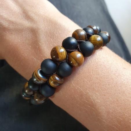Bracelet shamballa en pierre oeil de tigre et shaligram - Bracelets malas tibétains