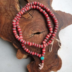 Collier tibétain os rouge