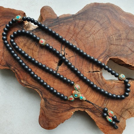 Collier mala tibétain en perles de shaligram - Colliers malas tibétains