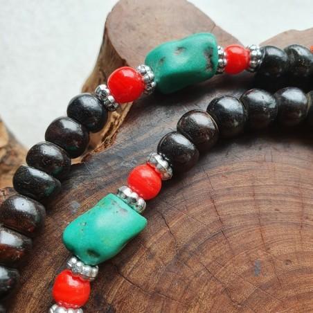 Mala tibétain traditionnel en os de bufle et pierres turquoises - Colliers malas tibétains