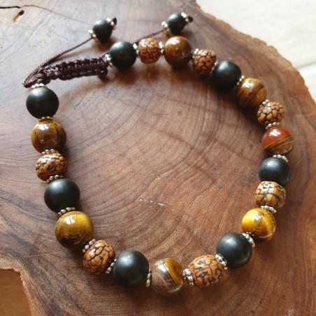 Bracelet mala tibétain en shaligram, oeil de tigre et rudraksha - Bracelets malas tibétains