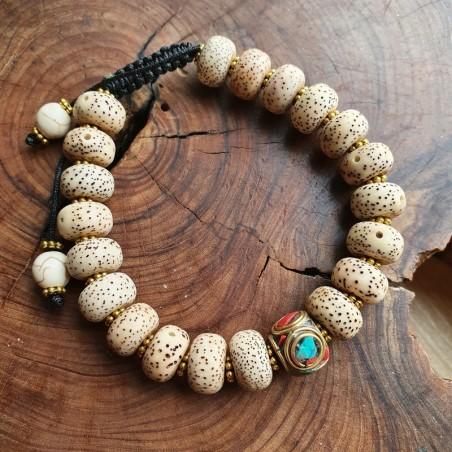 Bracelet en graines de lotus avec perle tibétaine - Bracelets malas tibétains
