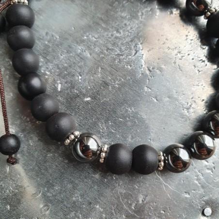 Bracelet mala tibétain hématite et shaligram - Bracelets malas tibétains