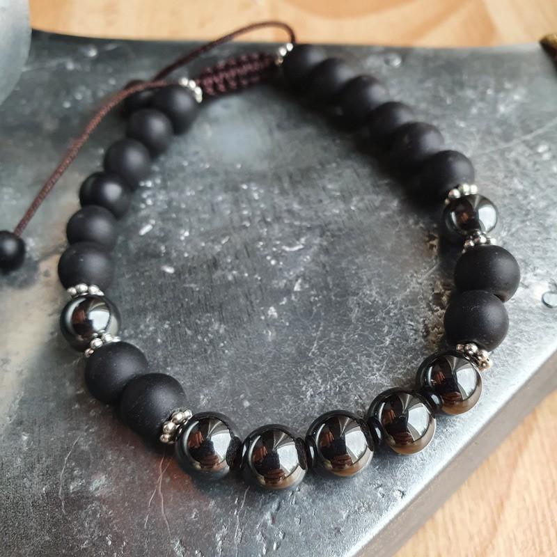 Bracelet mala tibétain hématite et shaligram