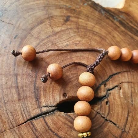 Bracelet Bouddha en perles d'hématite et bois de santal - Bracelets malas tibétains