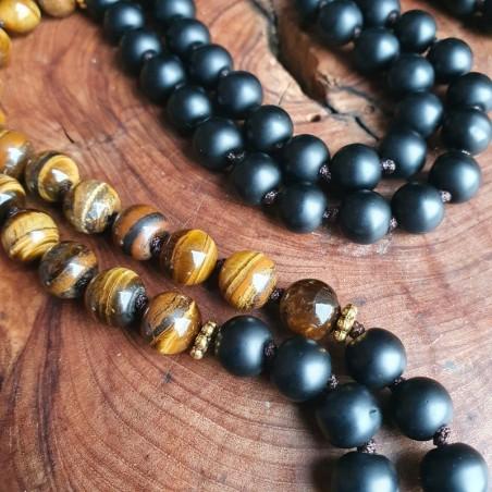 Mala tibétain pierre oeil de tigre et perles de shaligram - Colliers malas tibétains