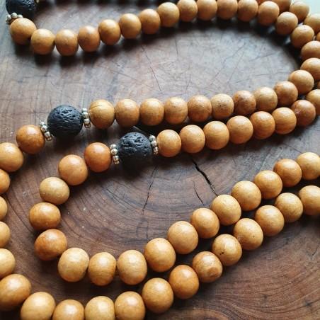 Bracelet mala tibétain 108 perles en bois de santal et pierre de lave - Colliers malas tibétains