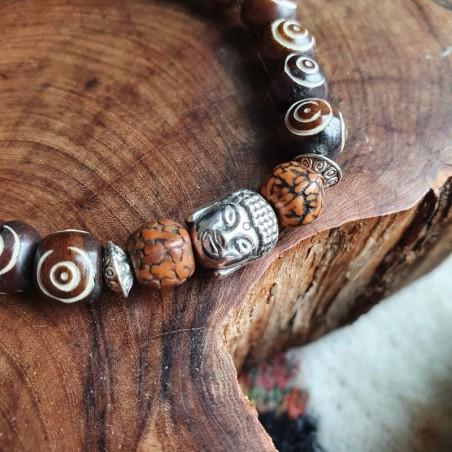 Bracelet Bouddha en perles d'os et graines de rudraksha - Bracelets malas tibétains
