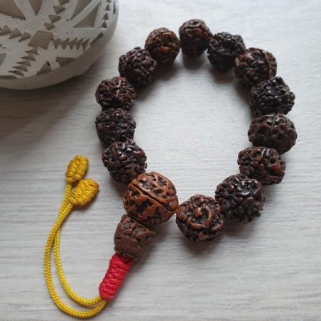 Bracelet mala tibétain en grosses graines de rudraksha - Bracelets malas tibétains
