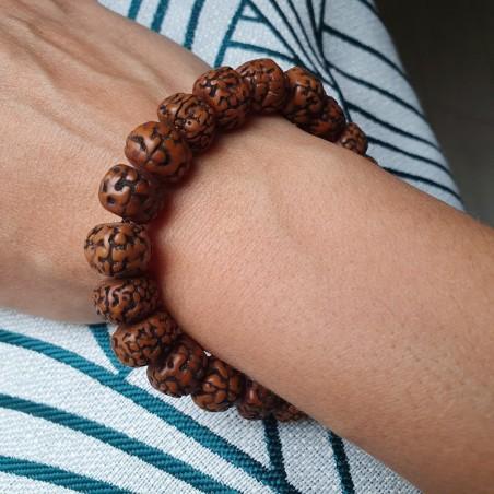 Bracelet mala tibétain en graines de rudraksha polies - Bracelets malas tibétains