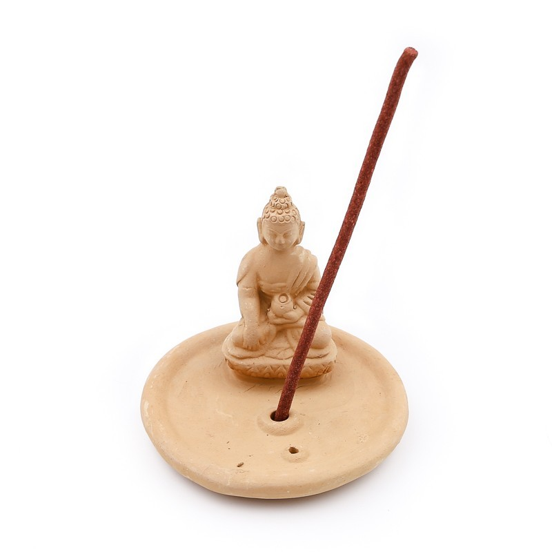 Porte encens Bouddha en terre cuite