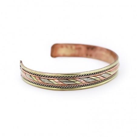 Bracelet tibétain en cuivre, laiton et métal argenté - Bracelets tibétains bouddhistes