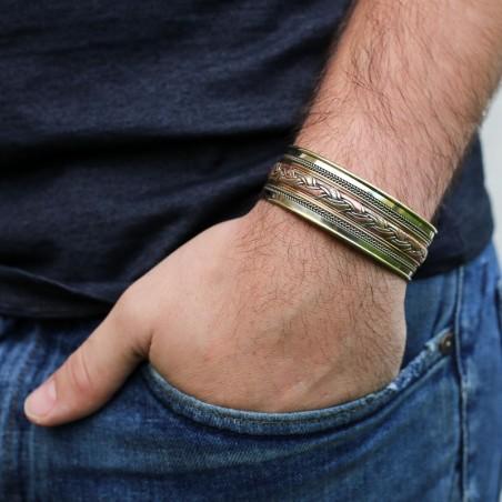 Bracelet tibétain manchette 3 métaux tressés - Bracelets tibétains