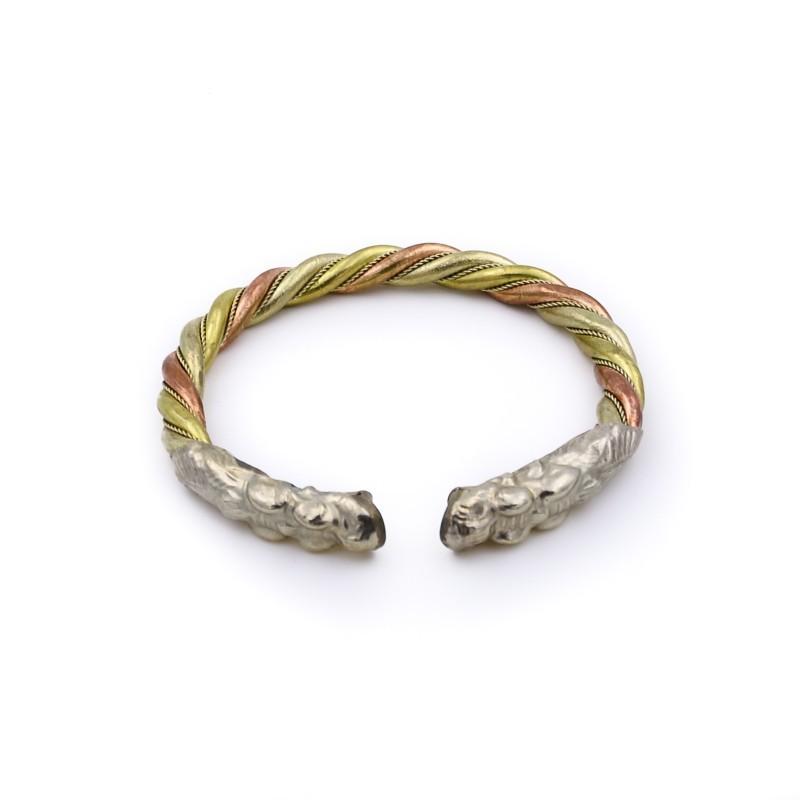 Bracelet tibétain dragon en cuivre, laiton et métal argenté