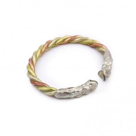 Bracelet tibétain dragon en cuivre, laiton et métal argenté - Bracelets tibétains