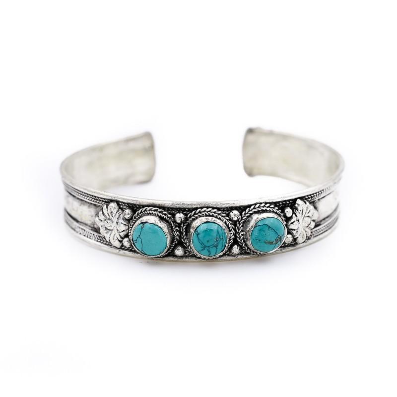 Bracelet tibétain incrusté de 3 pierres de couleur turquoise