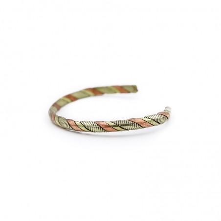Bracelet jonc tibétain en cuivre, laiton et métal argenté - Bracelets tibétains