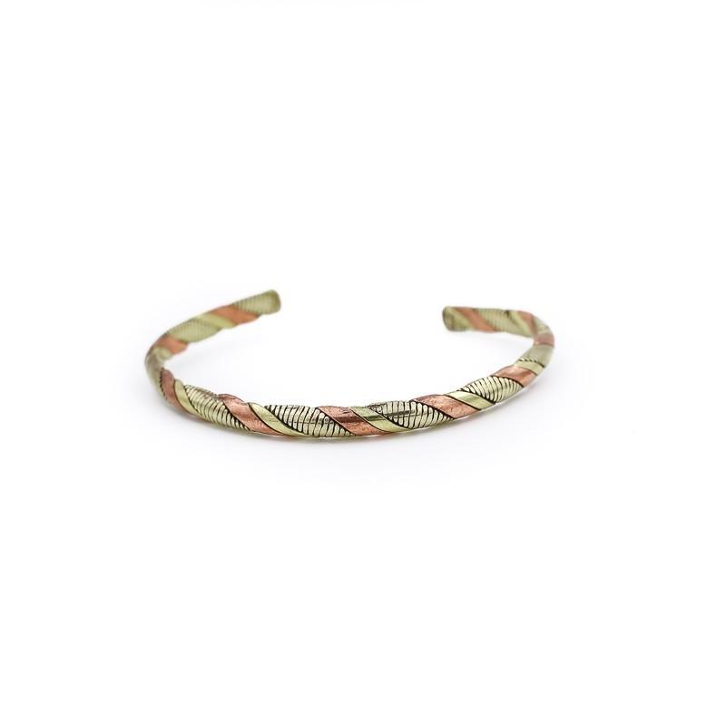 Bracelet jonc tibétain en cuivre, laiton et métal argenté