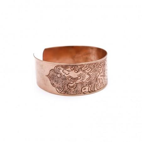 Bracelet tibétain manchette en cuivre gravé d'un dragon - Bracelets tibétains