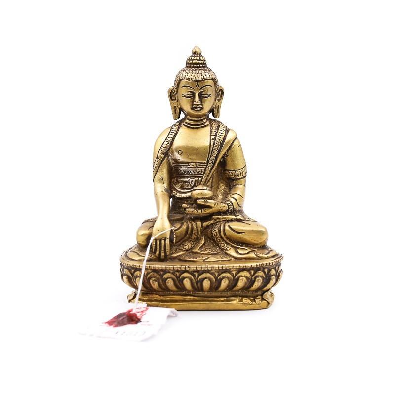 Statue Bouddha assis en laiton - mudra Bhumisparsha