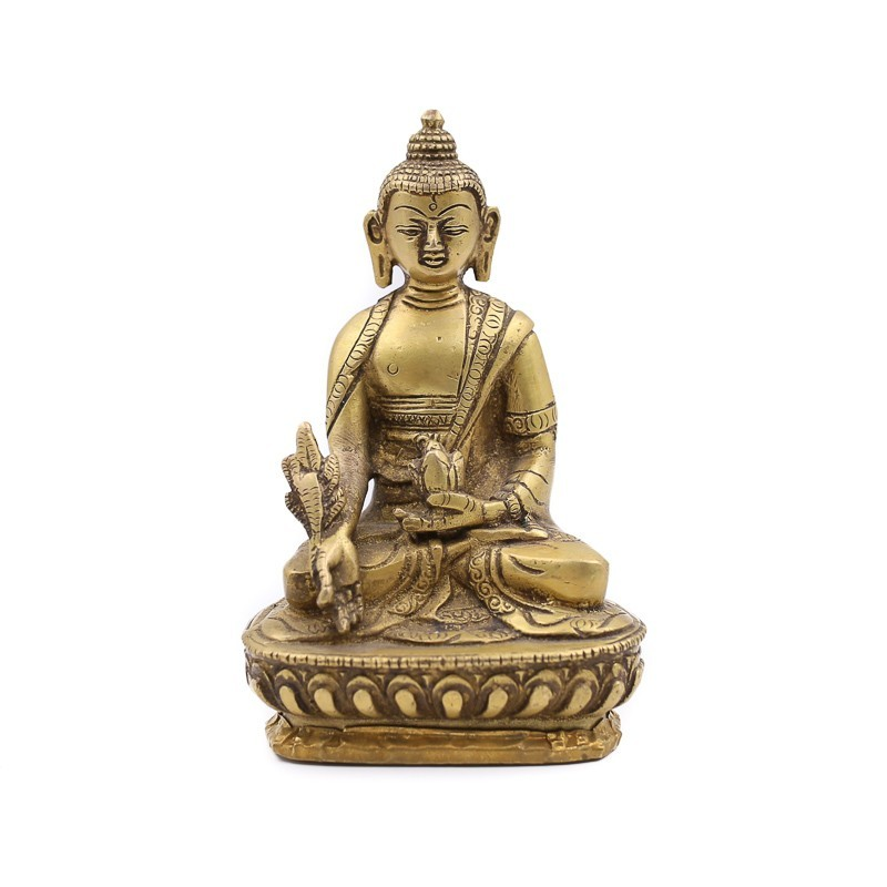 Statue Bouddha assis en laiton - mudra Varada