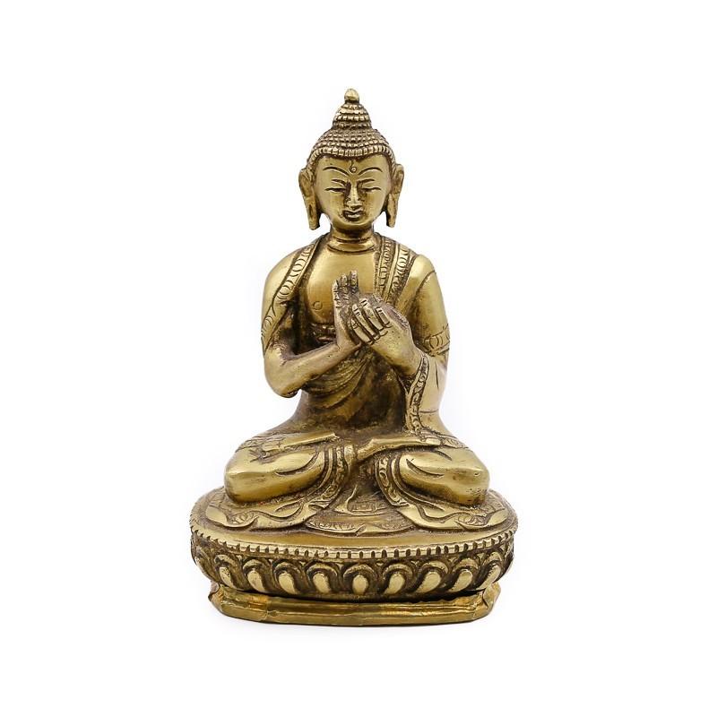 Statue Bouddha assis en laiton - mudra Dharmachakra