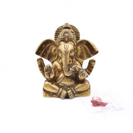 Statue Ganesh méditation en laiton de couleur naturelle - Statues bouddhistes