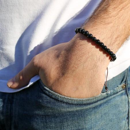 Bracelet mala tibétain en pierre onyx noir - Bracelets malas tibétains